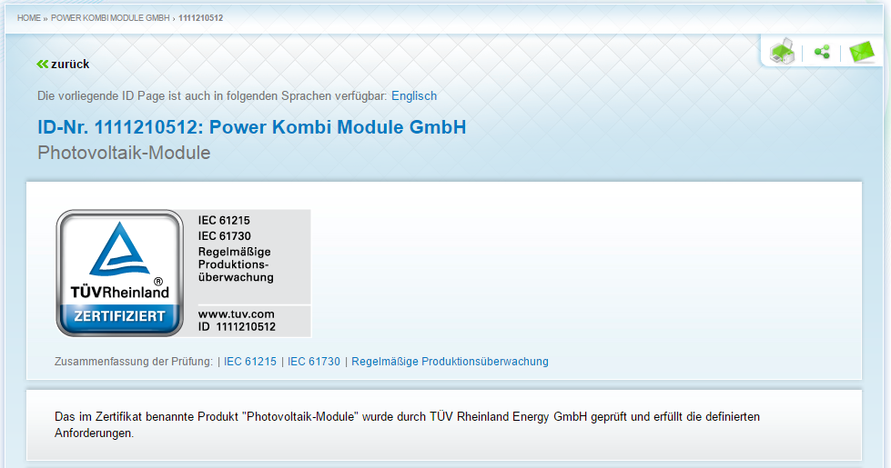 The First TUEV Certificate for PVT Sun Collectors ⋆ POWER