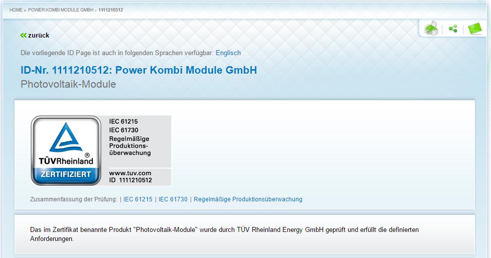 TÜV Zertifikat POWER KOMBI MODULE GmbH