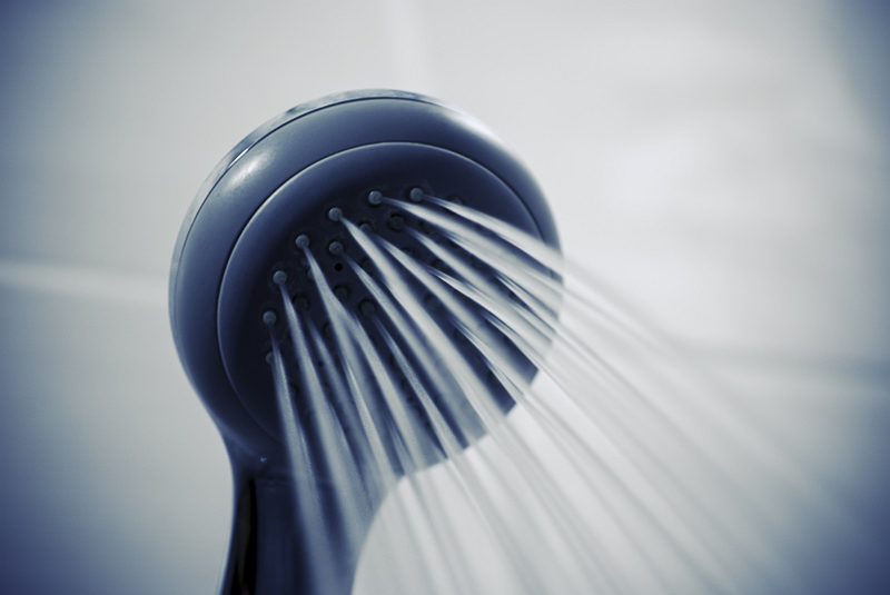 Water saving with an eco shower head